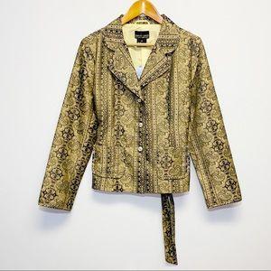 Robert Louis | NWT Gold Tapestry Silk Blend Blazer